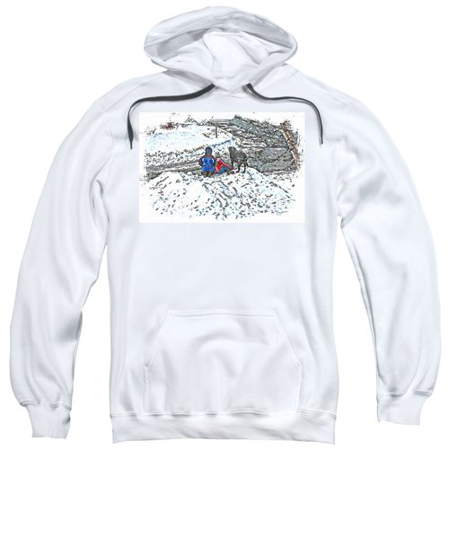 What Fascinates Children And Dogs -  Snow Day - Winter Sweatshirt