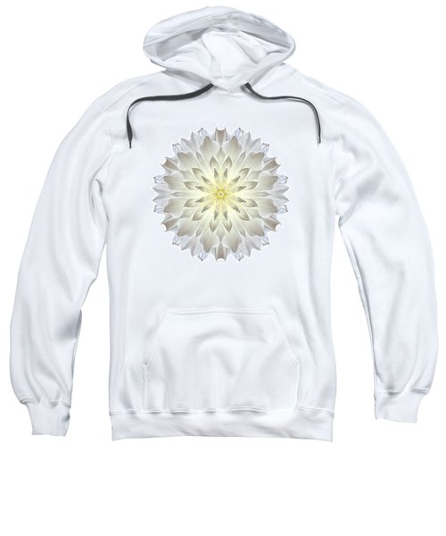 Giant White Dahlia I Flower Mandala White Sweatshirt