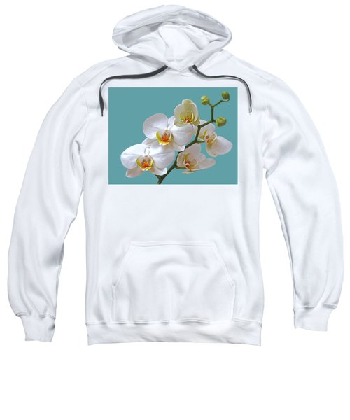 White Orchids On Ocean Blue Sweatshirt