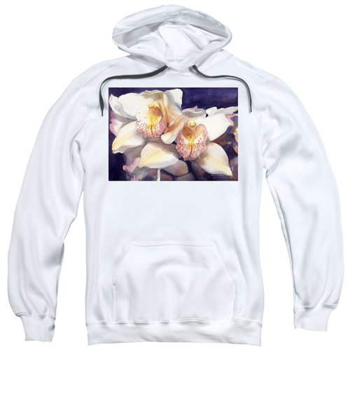 White Orchids Watercolor Sweatshirt