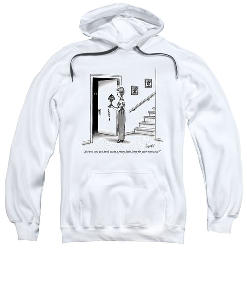 Woman Holding Lamp Stands At Dark Bedroom Doorway Sweatshirt