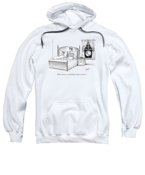 Woman Speaks To Man In Bed Sweatshirt