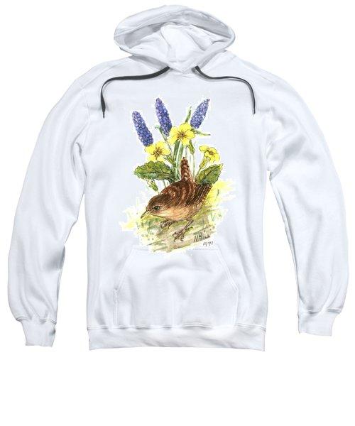 Wren In Primroses  Sweatshirt