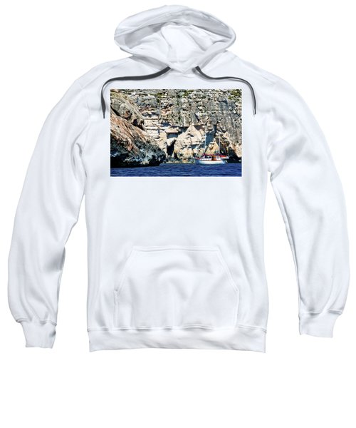 Yacht In Sea Near Popeye Village Sweatshirt