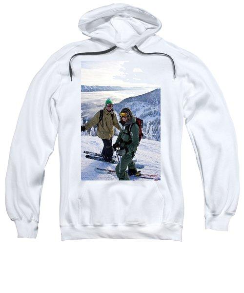 Young Couple Smile At Top Of Ski Run Sweatshirt