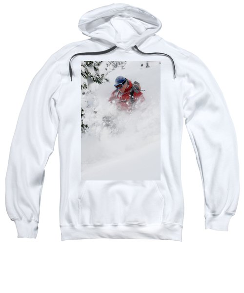 Young Man Skiing In Deep Powder Sweatshirt