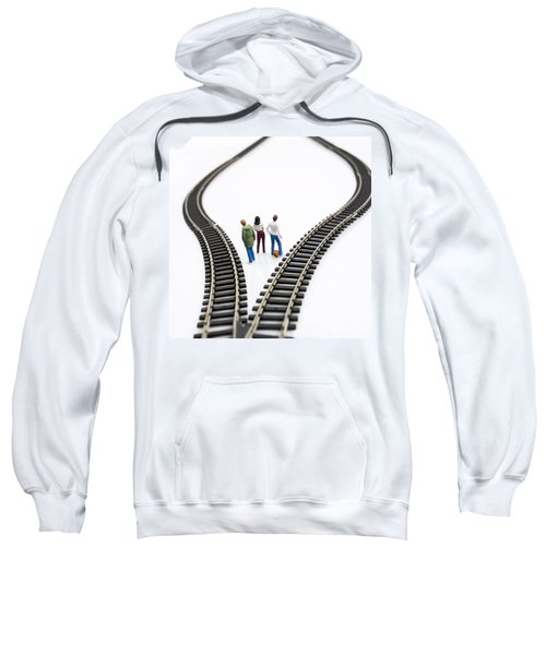 Figurines Between Two Tracks Leading Into Different Directions Symbolic Image For Making Decisions. Sweatshirt