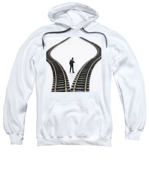 Figurine Between Two Tracks Leading Into Different Directions  Symbolic Image For Making Decisions Sweatshirt