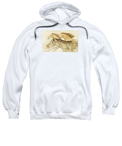 Sweatshirt featuring the drawing Horse Sketch by Nareeta Martin
