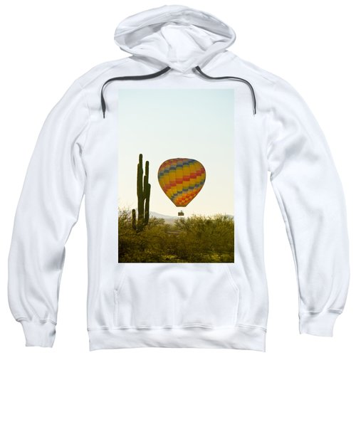 Hot Air Balloon In The Arizona Desert With Giant Saguaro Cactus Sweatshirt