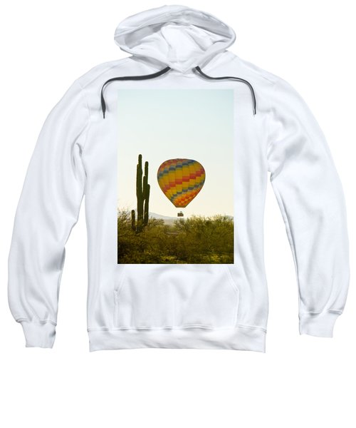 Hot Air Balloon In The Arizona Desert With Giant Saguaro Cactus Sweatshirt