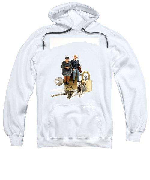 Miniature Figurines Of Elderly Couple Sitting On Padlocks Sweatshirt