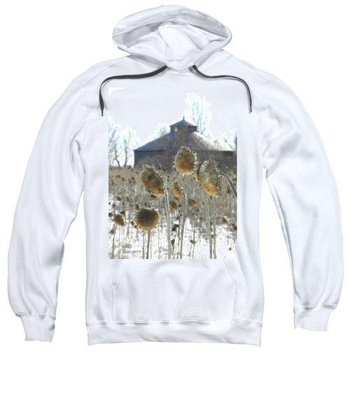 Round Barn With Sunflowers Sweatshirt