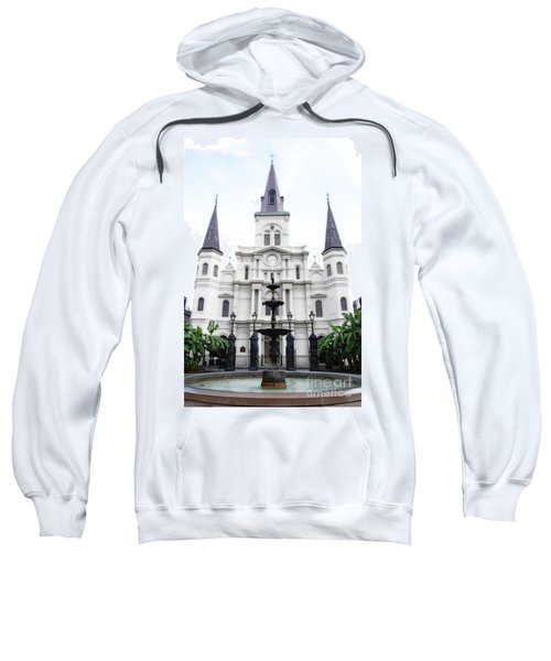 St Louis Cathedral And Fountain Jackson Square French Quarter New Orleans Diffuse Glow Digital Art Sweatshirt