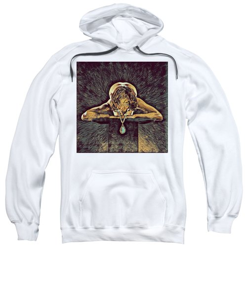 0756s-zac Nude Woman With Amulet On Tall Pedestal  Sweatshirt