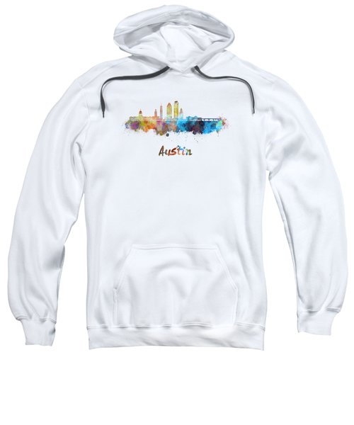 Austin Skyline In Watercolor Sweatshirt by Pablo Romero