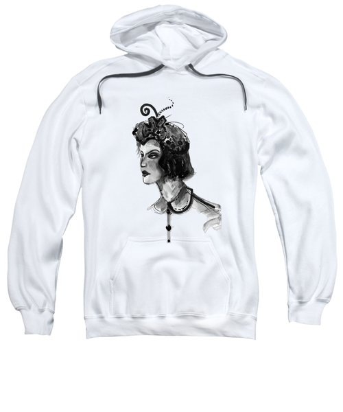 Black And White Watercolor Fashion Illustration Sweatshirt