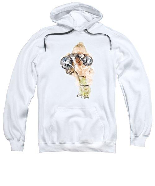 Blond Woman With Binoculars  Sweatshirt