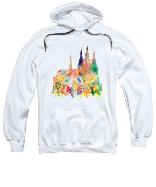 Cathedral Of Saint Vitus In The Prague Castle Watercolor Art Sweatshirt