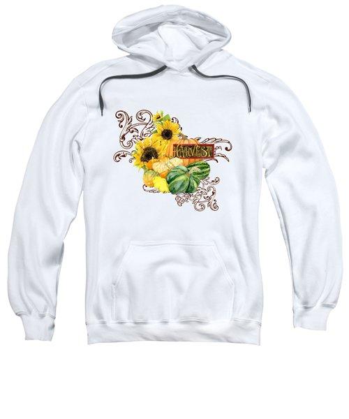Celebrate Abundance - Harvest Fall Pumpkins Squash N Sunflowers Sweatshirt by Audrey Jeanne Roberts
