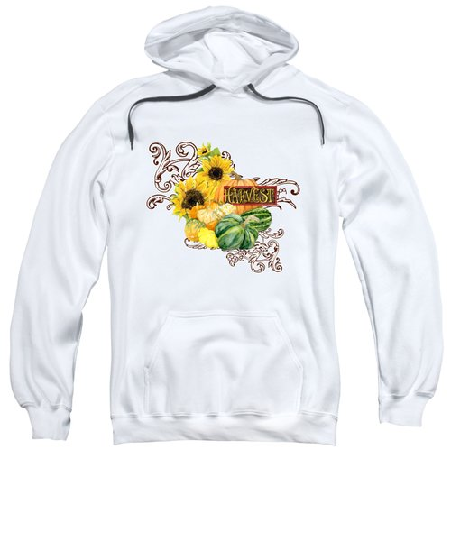 Celebrate Abundance - Harvest Fall Pumpkins Squash N Sunflowers Sweatshirt