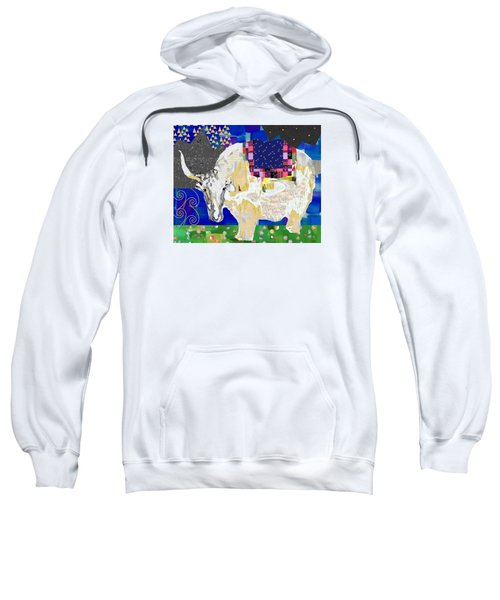 Stay Curious Cow Collage  Sweatshirt by Claudia Schoen