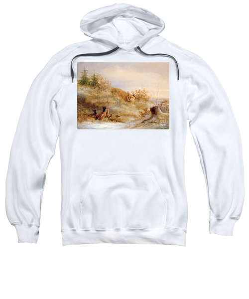 Fox And Pheasants In Winter Sweatshirt