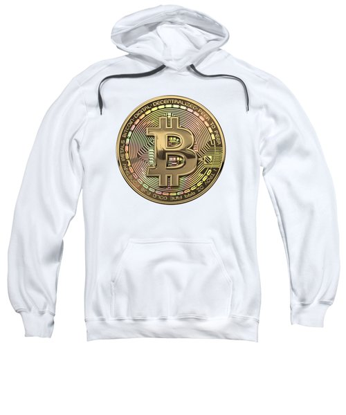 Gold Bitcoin Effigy Over White Leather Sweatshirt