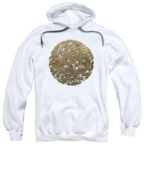 Golden Chinese Dragon White Leather  Sweatshirt