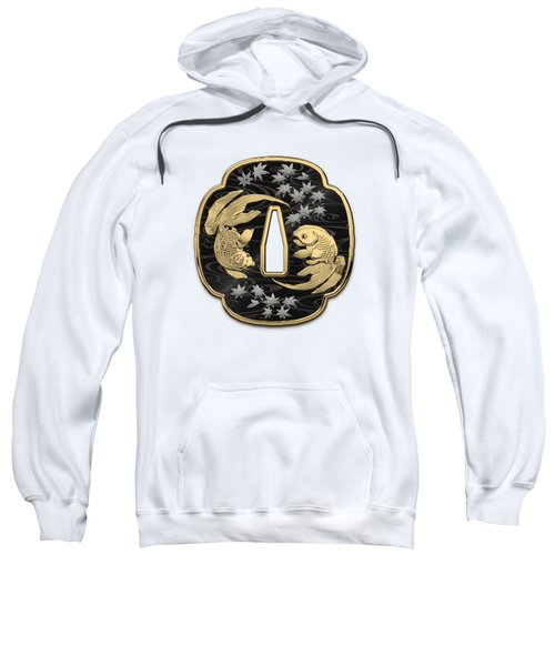 Japanese Katana Tsuba - Twin Gold Fish On Black Steel Over White Leather Sweatshirt