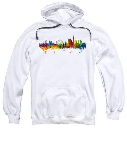 London England Skyline Panoramic Sweatshirt by Michael Tompsett