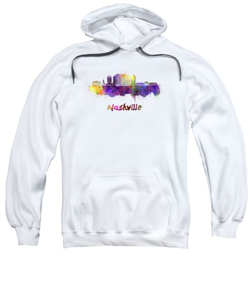 Nashville Skyline In Watercolor Sweatshirt by Pablo Romero