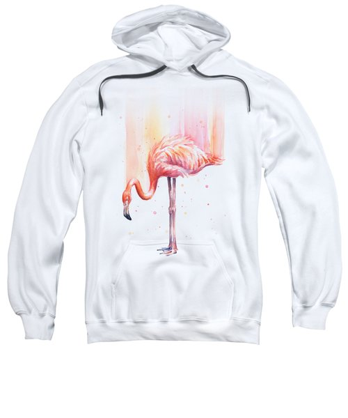 Pink Flamingo Watercolor Rain Sweatshirt by Olga Shvartsur