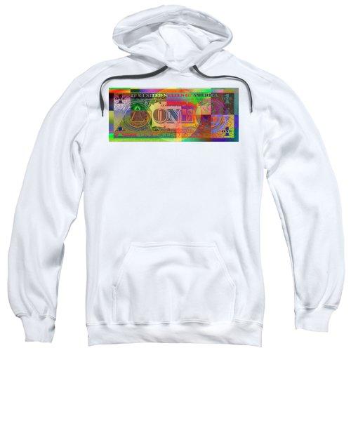 Pop-art Colorized One U. S. Dollar Bill Reverse Sweatshirt