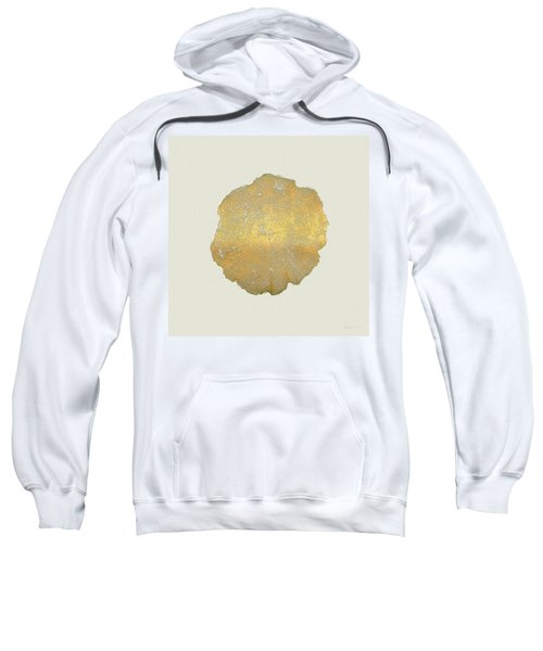 Rings Of A Tree Trunk Cross-section In Gold On Linen  Sweatshirt by Serge Averbukh