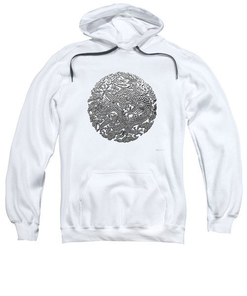 Sliver Chinese Dragon On White Leather Sweatshirt by Serge Averbukh