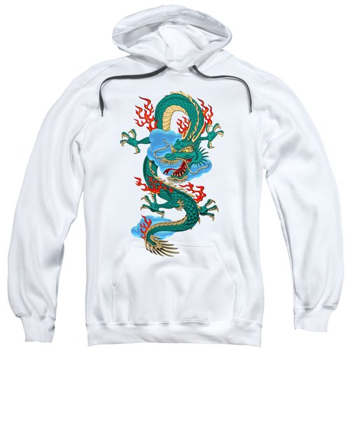 The Great Dragon Spirits - Turquoise Dragon On Rice Paper Sweatshirt by Serge Averbukh