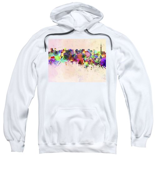 Tokyo Skyline In Watercolor Background Sweatshirt by Pablo Romero