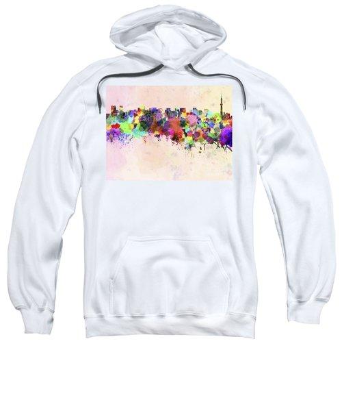 Tokyo Skyline In Watercolor Background Sweatshirt