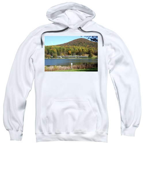 View Of Peaks Of Otter Lodge And Abbott Lake  In Autumn Sweatshirt