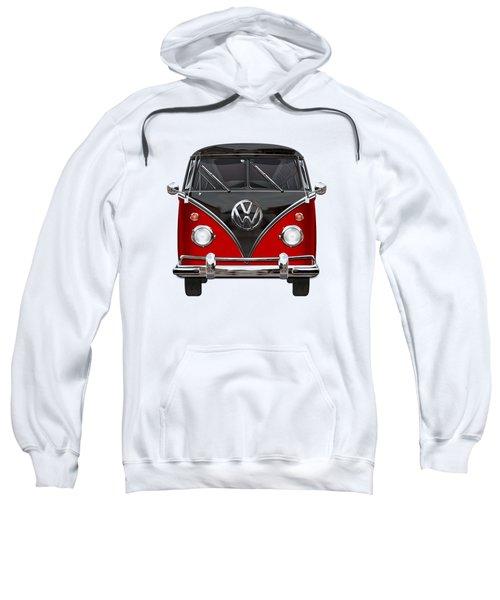 Volkswagen Type 2 - Red And Black Volkswagen T 1 Samba Bus On White  Sweatshirt