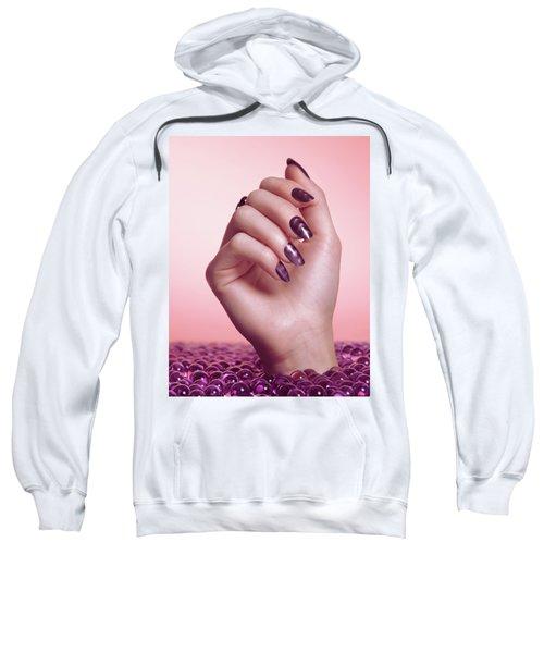 Woman Hand With Purple Nail Polish Sweatshirt