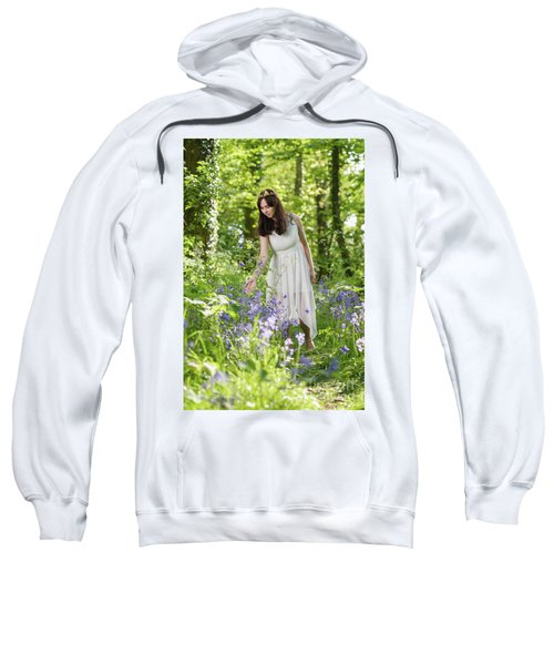Young Woman In Bluebell Woodland Sweatshirt