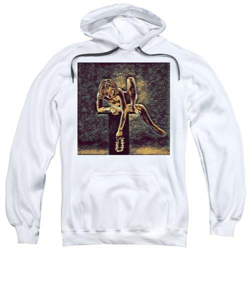 1003s-zac Necklace Of Bones Held By Beautiful Nude Dancer Sweatshirt
