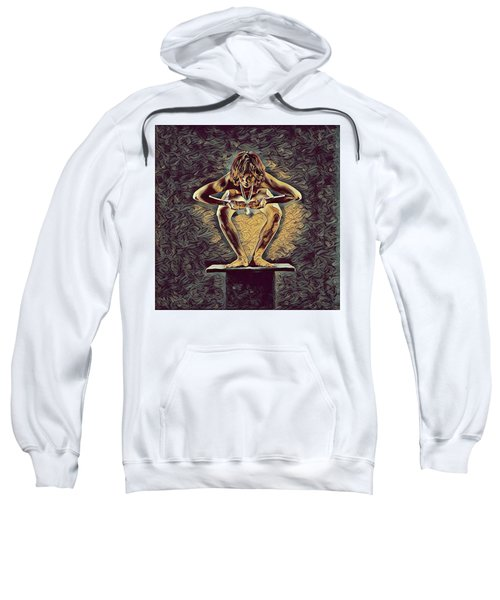 Sweatshirt featuring the digital art 1083s-zac Dancer Squatting On Pedestal With Amulet Nudes In The Style Of Antonio Bravo  by Chris Maher