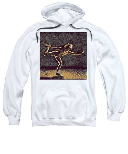 Sweatshirt featuring the digital art 1262s-zac Nude Dancer Ams Out In The Style Of Antonio Bravo  by Chris Maher
