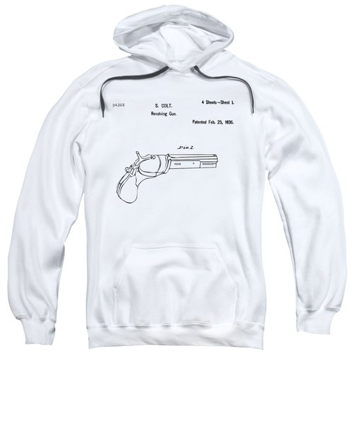 1836 First Colt Revolver Patent Artwork - Vintage Sweatshirt