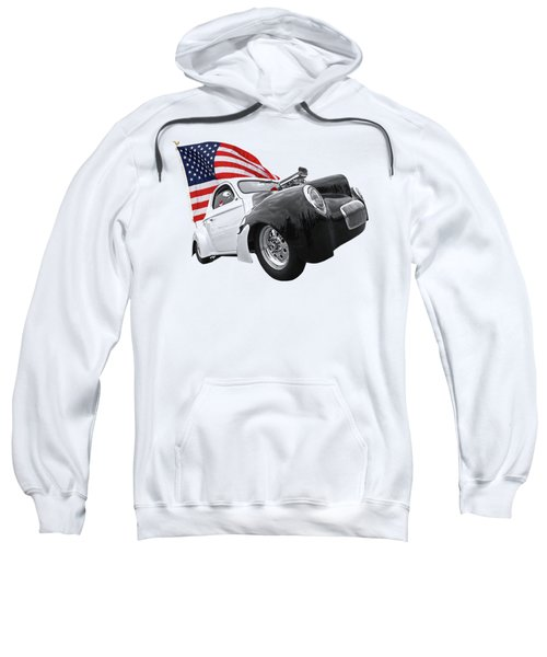 1941 Willys Coupe With Us Flag Sweatshirt