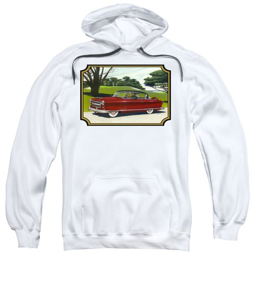 1953 Nash Rambler Car Americana Rustic Rural Country Auto Antique Painting Red Golf Sweatshirt by Walt Curlee