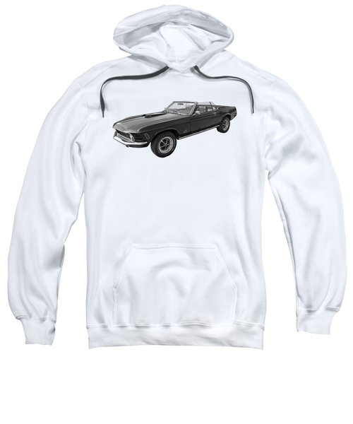 1970 Mach 1 Mustang 351 Cleveland In Black And White Sweatshirt